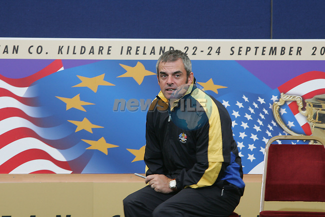 Straffin Co Kildare Ireland. K Club Ruder Cup...Paul McGinley waits for team Europe to line out for the official photograph in the Media centre in the K Club on practice day three...Photo: Fran Caffrey/ Newsfile.<br />