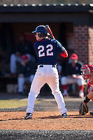 Nick Spangler (22) of the Shippensburg Raiders at bat against the Belmont Abbey Crusaders at Abbey Yard on February 8, 2015 in Belmont, North Carolina.  The Raiders defeated the Crusaders 14-0.  (Brian Westerholt/Four Seam Images)