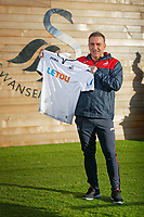 Carlos Carvalhal holds a home shirt after being unveiled as New Swansea City Manager at The Fairwood Training Ground in Swansea, Wales, UK. Thursday 28 December 2017