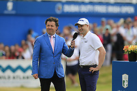 Shane O'Donoghue with winner Russell Knox (SCO) at the end of Sunday's Final Round of the 2018 Dubai Duty Free Irish Open, held at Ballyliffin Golf Club, Ireland. 8th July 2018.<br /> Picture: Eoin Clarke   Golffile<br /> <br /> <br /> All photos usage must carry mandatory copyright credit (&copy; Golffile   Eoin Clarke)