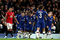30th October 2019; Stamford Bridge, London, England; English Football League Cup, Carabao Cup, Chelsea Football Club versus Manchester United; Michy Batshuayi celebrates with team mates as he scores for 1-1 in the 60th minute - Strictly Editorial Use Only. No use with unauthorized audio, video, data, fixture lists, club/league logos or 'live' services. Online in-match use limited to 120 images, no video emulation. No use in betting, games or single club/league/player publications