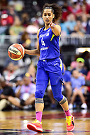 Washington, DC - August 12, 2018: Dallas Wings All-Star guard Skylar Diggins-Smith (4) calls out a play during game between the Washington Mystics and the Dallas Wings at the Capital One Arena in Washington, DC. (Photo by Phil Peters/Media Images International)