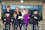 ..PIPES: Members of the Pipes & Drums Pipe Band who were presented with a cheque of EUR1,000 by Hazel Boyle, Manor West Hotel Tralee on Friday. L-r: Jessica Stephenson, Michael and Sean Carroll, Hazel Boyle, Johnny Wall, Anne Fitzgerald and Gary Stephenson.... .