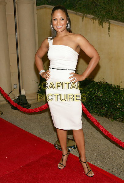 LAILA ALI.11th Annual DesignCare event benefiting the HollyRod Foundation held at a Private Residence, Beverly Hills, CA, USA..July 25th, 2009.full length white one shoulder dress hands on hips.CAP/ADM/TL.©Tony Lowe/AdMedia/Capital Pictures.