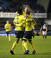 Blackburn Rovers' Adam Armstrong celebrates scoring his side's second goal with Joe Nuttall and Harrison Reed<br /> <br /> Photographer Rob Newell/CameraSport<br /> <br /> The EFL Sky Bet Championship - Millwall v Blackburn Rovers - Saturday 12th January 2019 - The Den - London<br /> <br /> World Copyright &copy; 2019 CameraSport. All rights reserved. 43 Linden Ave. Countesthorpe. Leicester. England. LE8 5PG - Tel: +44 (0) 116 277 4147 - admin@camerasport.com - www.camerasport.com