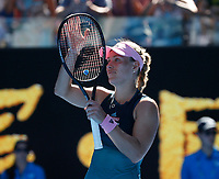 14th January 2019, Melbourne Park, Melbourne, Australia; Australian Open Tennis, day 1; <br /> Angelique Kerber of Germany reacts during a match against Polona Hercog of Slovenia