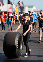 Jun 7, 2019; Topeka, KS, USA; Johnna Dunn, grand daughters of NHRA funny car owner Jim Dunn during qualifying for the Heartland Nationals at Heartland Motorsports Park. Mandatory Credit: Mark J. Rebilas-USA TODAY Sports