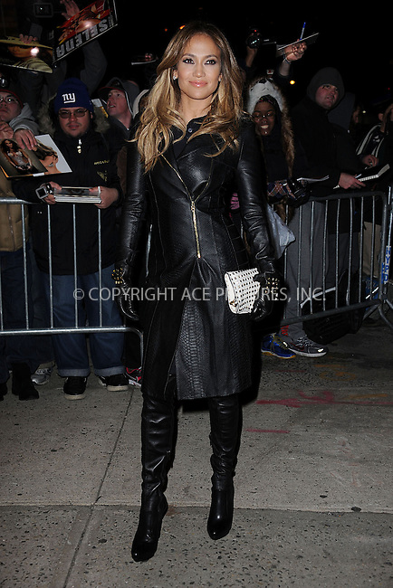 WWW.ACEPIXS.COM . . . . . .January 22, 2013...New York City....Jennifer Lopez arrives to tape an appearance on The Daily Show with Jon Stewart on January 22, 2013 in New York City ....Please byline: KRISTIN CALLAHAN - ACEPIXS.COM.. . . . . . ..Ace Pictures, Inc: ..tel: (212) 243 8787 or (646) 769 0430..e-mail: info@acepixs.com..web: http://www.acepixs.com .
