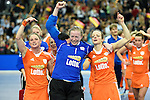 Leipzig, Germany, February 08: Players of The Netherlands celebrate after defeating Germany 1-2 after shoot-out to win the FIH Indoor Hockey World Cup on February 8, 2015  at Arena Leipzig in Leipzig, Germany. Final score 1-2 after shoot out. (Photo by Dirk Markgraf / www.265-images.com) *** Local caption *** (L-R) Claire Verhage #6 of The Netherlands, Adinda Alberts #1 of The Netherlands, Karin den Ouden #4 of The Netherlands