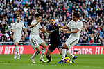 Real Madrid's Sergio Reguilon (L) and Carlos Henrique Casemiro (R) and Real Valladolid's Enes Unal during La Liga match between Real Madrid and Real Valladolid at Santiago Bernabeu Stadium in Barcelona, Spain. November 03, 2018. (ALTERPHOTOS/A. Perez Meca)