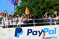 MADRID, SPAIN - JULY 7: Gay Pride 2018 parade in Madrid, Spain on July 7, 2018. Hundreds of gay and lesbians are seen during LGBT demonstration to against LGBT phobia in &quot;Madrid Gay Pride 2018&quot;. This year marks 40 years since Madrid's first authorized LGBT demonstration was organised by the Homosexual Liberation <br /> CAP/MPI/JR<br /> &copy;JR/MPI/Capital Pictures