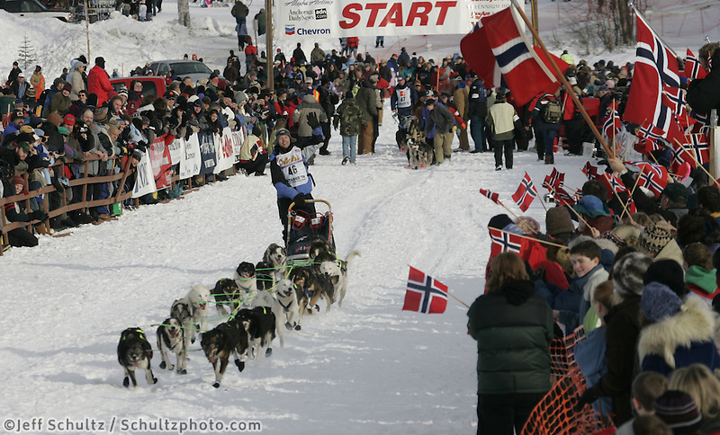 Tore Albrightsen of Norway leaves the start line during the Iditarod restart on Sunday in Willow, Alaska