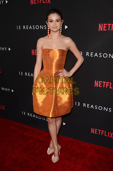 LOS ANGELES, CA - MARCH 30: Selena Gomez at  the premiere of Netflix's '13 Reasons Why' at Paramount Pictures on March 30, 2017 in Los Angeles, California. <br /> CAP/MPI/DE<br /> &copy;DE/MPI/Capital Pictures