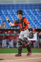 Miami Marlins catcher Keegan Fish (39) signals to the defense during a Florida Instructional League game against the Washington Nationals on September 26, 2018 at the Marlins Park in Miami, Florida.  (Mike Janes/Four Seam Images)