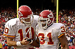 Kansas City Chiefs quarterback Trent Green (10) congratulates running back Priest Holmes (31) over touchdown run on Sunday, November 10, 2002, in San Francisco, California. The 49ers defeated the Chiefs 17-13.