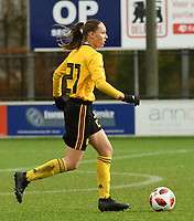 20200226 – KALMTHOUT , BELGIUM : Belgian Louise Wijns (21)  pictured during a friendly soccer game between the national youth Women Under 17 teams of Belgium and The Netherlands , a friendly football game in preparation for the UEFA Elite rounds in March in Belgium for the Belgian team , Wednesday 26 th February 2020 at the Heikant sportpark in Kalmthout , Belgium . PHOTO SPORTPIX.BE | DIRK VUYLSTEKE