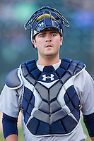 Wilmington Blue Rocks catcher Cam Gallagher (35) prior to the game against the Winston-Salem Dash at BB&T Ballpark on April 3, 2014 in Winston-Salem, North Carolina.  The Blue Rocks defeated the Dash 3-1.  (Brian Westerholt/Four Seam Images)
