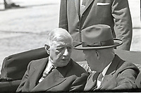 United States President Dwight D. Eisenhower, right, rides in a limosine with President Charles DeGaulle of France, left, following an arrival ceremony at Washington National Airport in Washington, DC on April 22, 1960.  President DeGaulle is in Washington for a four-day official visit.<br /> Credit: Benjamin E. &quot;Gene&quot; Forte / CNP /MediaPunch