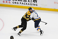 June 12, 2019: Boston Bruins defenseman Zdeno Chara (33) pushes St. Louis Blues left wing Pat Maroon (7) off the puck during game 7 of the NHL Stanley Cup Finals between the St Louis Blues and the Boston Bruins held at TD Garden, in Boston, Mass.  The Saint Louis Blues defeat the Boston Bruins 4-1 in game 7 to win the 2019 Stanley Cup Championship.  Eric Canha/CSM.