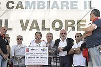 Roma, 16 Giugno 2012.Manifestazione nazionale dei sindacati Cgil, Cisl e Uil contro la riforma del lavoro. Piazza del Popolo. .Susanna Camusso segretario Cgil.