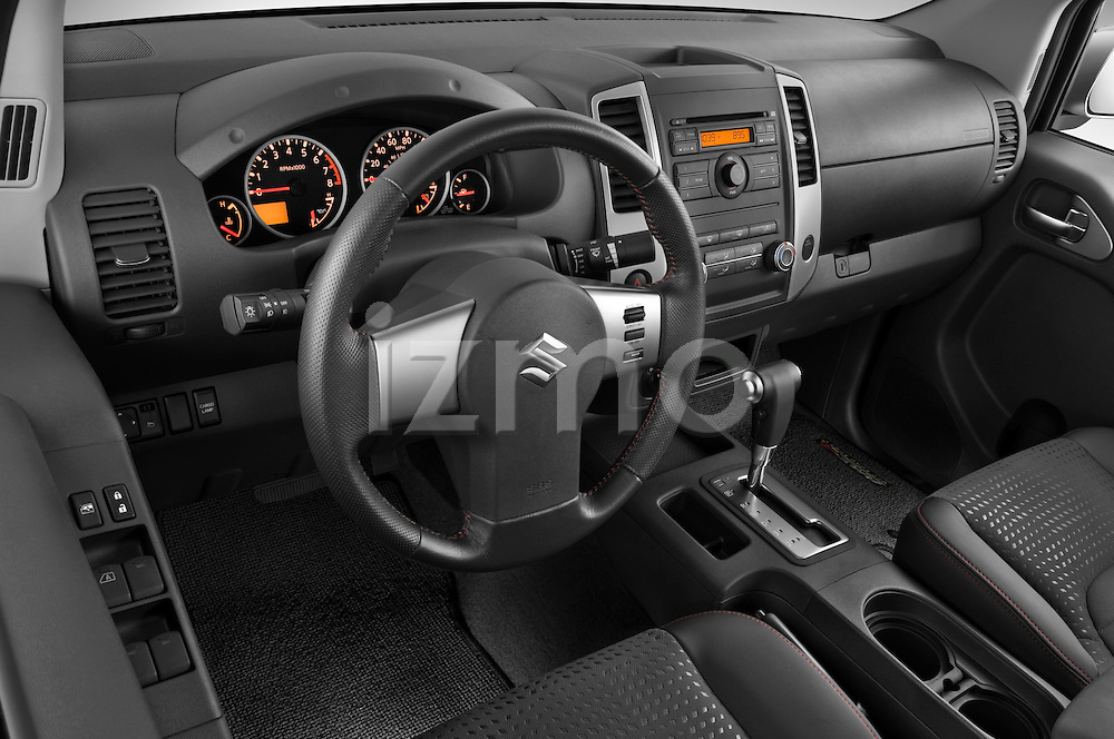 High angle dashboard view of a  2009 suzuki equator rmz4 crew cab