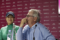 Defending Champion In Gee Chun (KOR) and Chairman Franck Riboud at the opening press conference during Wednesday's Pro-Am Day of The Evian Championship 2017, the final Major of the ladies season, held at Evian Resort Golf Club, Evian-les-Bains, France. 13th September 2017.<br /> Picture: Eoin Clarke | Golffile<br /> <br /> <br /> All photos usage must carry mandatory copyright credit (&copy; Golffile | Eoin Clarke)