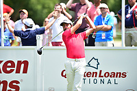 Bethesda, MD - July 2, 2017: Curtis Luck tees off on hole one during final round of professional play at the Quicken Loans National Tournament at TPC Potomac at Avenel Farm in Bethesda, MD.  (Photo by Phillip Peters/Media Images International)