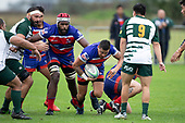 Whaiiora Rangiwai makes a run towards Jesse Pascoe. Counties Manukau Premier Club Rugby game between Ardmore Marist and Manurewa, played at Bruce Pulman Park Papakura on Saturday May 12th 2018. Ardmore Marist won the game 20 - 3 after leading 17 - 3 at halftime.<br /> Ardmore Marist - Katetistoti Nginingini try, penalty try, Latiume Fosita conversion, Latiume Fosita 2 penalties.<br /> Manurewa - Logan Fonoti penalty.<br /> Photo by Richard Spranger.