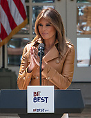 First Lady Melania Trump announces her Initiatives in the Rose Garden of the White <br /> House in Washington, DC on Monday, May 7, 2018.<br /> Credit: Ron Sachs / CNP<br /> (RESTRICTION: NO New York or New Jersey Newspapers or newspapers within a 75 mile radius of New York City)