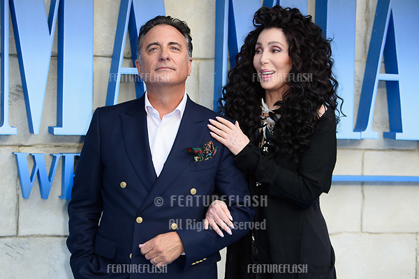 """Andy Garcia & Cher arriving for the """"Mama Mia! Here We Go Again"""" world premiere at the Eventim Apollo, Hammersmith, London, UK. <br /> 16 July  2018<br /> Picture: Steve Vas/Featureflash/SilverHub 0208 004 5359 sales@silverhubmedia.com"""