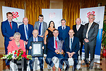 Seated L-R Betty Groves, John O'Sullivan, general manager of Lee Strand, Ivan Groves, Lee Strand Milk Overall quality award 2018 and Donal Pierse, back L-R Declan Roche, jerry Dwyre, niall Groves, Teresa Walker, Erik O'Brien, John Daly and Mike Mangan, at the Lee Strand social last Saturday night in the Ballygarry house hotel, Tralee.