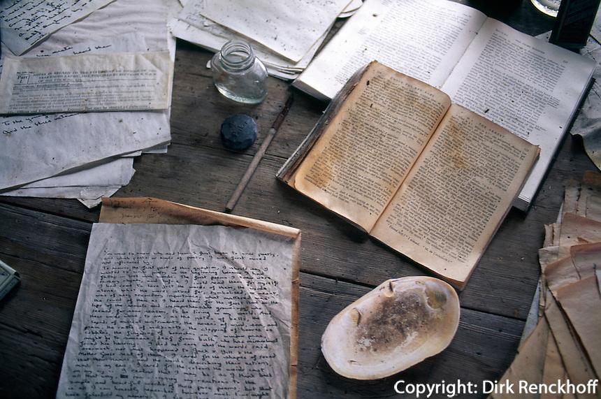Großbritannien, Wales, Laugharne, Handschrift von Dylan Thomas inThe Shack