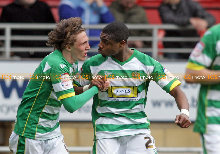 Jonathan Obika of Yeovil Town celebrates scoring the equalising goal bringing the final score to 2-2 - Leyton Orient vs Yeovil Town - nPower League One Football at the Matchroom Stadium, Brisbane Road, London - 21/04/12 - MANDATORY CREDIT: Helen Watson/TGSPHOTO - Self billing applies where appropriate - 0845 094 6026 - contact@tgsphoto.co.uk - NO UNPAID USE.