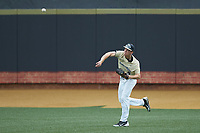 Wake Forest Demon Deacons center fielder D.J. Poteet (4) throws the ball back to the infield during the game against the Virginia Cavaliers at David F. Couch Ballpark on May 19, 2018 in  Winston-Salem, North Carolina. The Demon Deacons defeated the Cavaliers 18-12. (Brian Westerholt/Four Seam Images)
