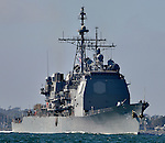 USS ANTIETAM (CG-54) transits San Diego Bay enroute to the Naval Base, 7 September 2012.