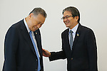 (L-R) Yoshiro Mori, Ryohei Miyata, SEPTEMBER 29, 2015 : The first meeting of the Tokyo 2020 Emblem Selection Committee is held in Tokyo, Japan. This committee initiated the selection of the new Olympic and Paralympic Games emblems. (Photo by Yohei Osada/AFLO SPORT)