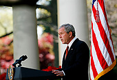 United States President George W. Bush makes a speech on Climate at  the Rose Garden of the White House, Washington DC, April 16, 2008.<br /> Credit: Aude Guerrucci / Pool via CNP