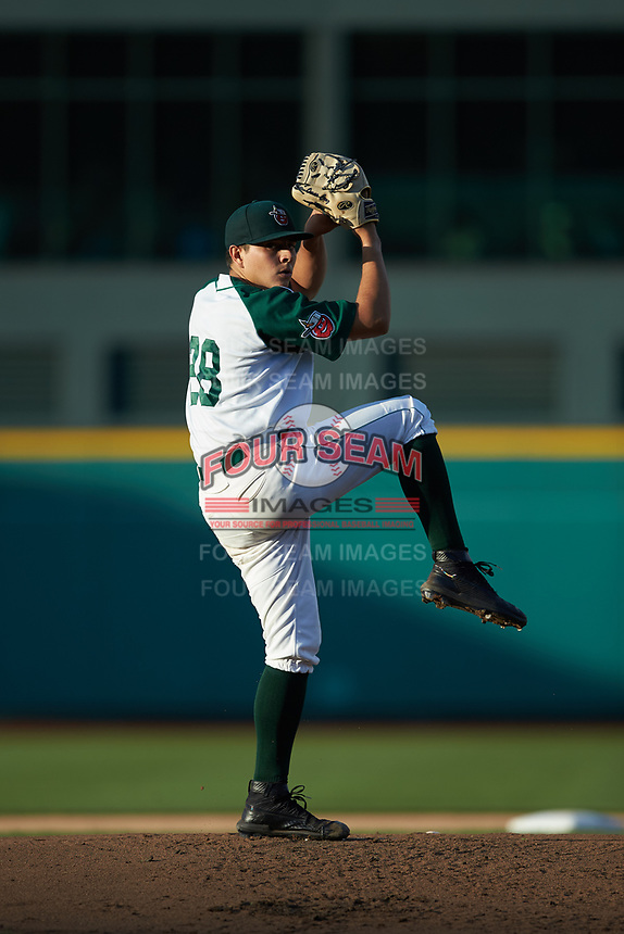 Fort Wayne TinCaps starting pitcher Omar Cruz (28) in action against the Bowling Green Hot Rods at Parkview Field on August 20, 2019 in Fort Wayne, Indiana. The Hot Rods defeated the TinCaps 6-5. (Brian Westerholt/Four Seam Images)