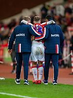 12th February 2020; Bet365 Stadium, Stoke, Staffordshire, England; English Championship Football, Stoke City versus Preston North End; Thibaud Verlinden of Stoke City is helped from the pitch after an injury