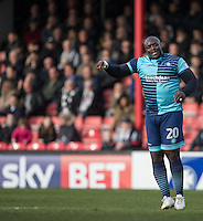 Adebayo Akinfenwa of Wycombe Wanderers during the Sky Bet League 2 match between Grimsby Town and Wycombe Wanderers at Blundell Park, Cleethorpes, England on 4 March 2017. Photo by Andy Rowland / PRiME Media Images.