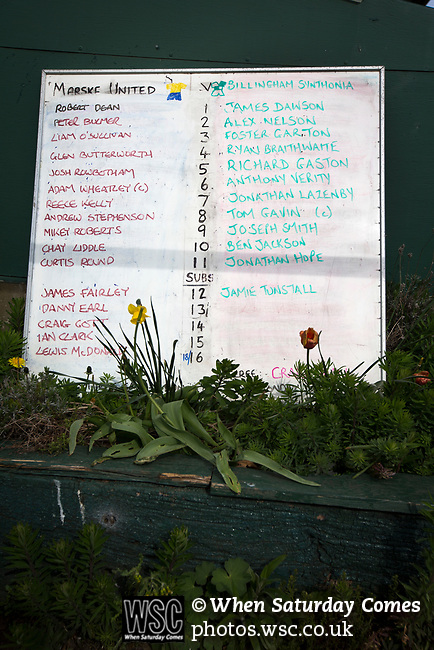 A board with the team line-ups at Mount Pleasant before Marske United take on Billingham Synthonia in a Northern League division one fixture. Formed in 1956 in Marske-by-the-Sea, the home club had secured automatic promotion to the Northern Premier League two days before and were in the midst of a run of six home games in 10 days as they attempted to overtake Morpeth Town to win the league. They won this match 6-1 against already relegated Billingham, watched by a crowd of 196.
