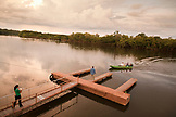 BRAZIL,  Amazon Jungle, returning to the lodge after a day of fishing, Agua Boa fishing lodge
