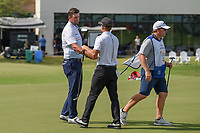 Marc Leishman (AUS) shakes hands with Brian Gay (USA) following round 3 of the AT&amp;T Byron Nelson, Trinity Forest Golf Club, at Dallas, Texas, USA. 5/19/2018.<br /> Picture: Golffile | Ken Murray<br /> <br /> <br /> All photo usage must carry mandatory copyright credit (&copy; Golffile | Ken Murray)