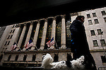 A man walks in front of the New York Stock Exchange while Mc Donald's Management discusses Q4 2011 results in New York, United States. 23/01/2012.  Photo by Eduardo Munoz Alvarez / VIEWpress.