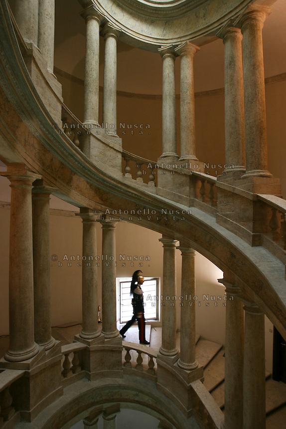 Un Corazziere scende La Scala del Mascarino del Quirinale.<br /> A Cuirassier at the Quirinal Palace.  The Cuirassiers' Regiment is an Italian elite military unit and the honor guard of the President of the Italian Republic.