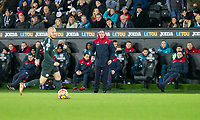 Swansea City head coach Paul Clement watches David Silva of Manchester City on the ball during the EPL - Premier League match between Swansea City and Manchester City at the Liberty Stadium, Swansea, Wales on 13 December 2017. Photo by Mark  Hawkins / PRiME Media Images.