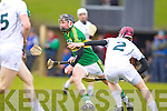 John Egan Kerry in action against John O'Malley Kildare in the National Hurling League at Abbeydorney on Sunday.