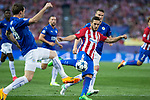 Riyad Mahrez of Leicester City Football Club competes for the ball with Koke Resurrecccion of Atletico de Madrid  during the match of  Champions LEague between  Atletico de Madrid and LEicester City Football Club at Vicente Calderon  Stadium  in Madrid, Spain. April 12, 2017. (ALTERPHOTOS / Rodrigo Jimenez)