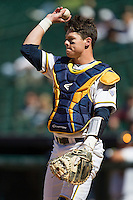 California Golden Bears catcher Andrew Knapp #5 throws the ball back to the pitcher during the NCAA baseball game against the Baylor Bears on March 1st, 2013 at Minute Maid Park in Houston, Texas. Baylor defeated Cal 9-0. (Andrew Woolley/Four Seam Images).