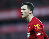 30th November 2019; Anfield, Liverpool, Merseyside, England; English Premier League Football, Liverpool versus Brighton and Hove Albion; Andy Robertson of Liverpool - Strictly Editorial Use Only. No use with unauthorized audio, video, data, fixture lists, club/league logos or 'live' services. Online in-match use limited to 120 images, no video emulation. No use in betting, games or single club/league/player publications